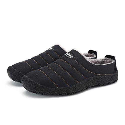 Xylxyl Männer Frauen Anti-Rutsch Mokassin Loafer Winter Warm Low Top Hausschuhe Schuhe mit vollständig Fell gefüttert Schwarz