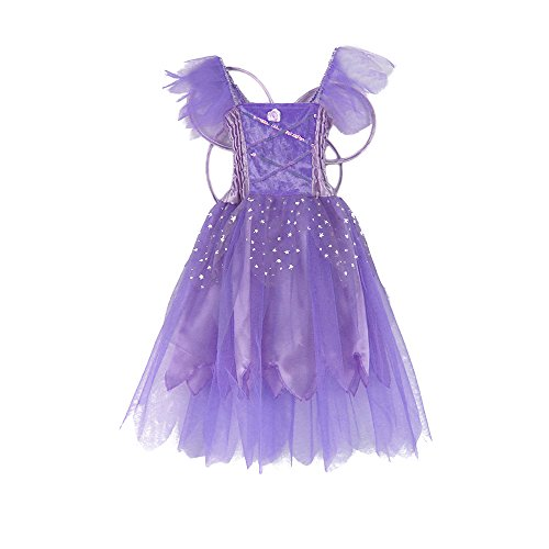 Fairy Princess Dress Up - Girls Princess Fairy Wings Tutu Long Dress Birthday Party Costume Halloween, Purple 2-4 Year