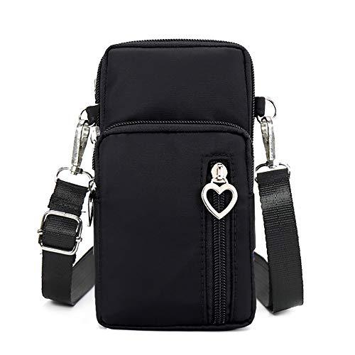 (Houdor Phone Bag Purse & wallet Crossbody Bag Lightweight Roomy Pockets Smartphone sports Armband Bag For Men and Women, Black, 7 inch)