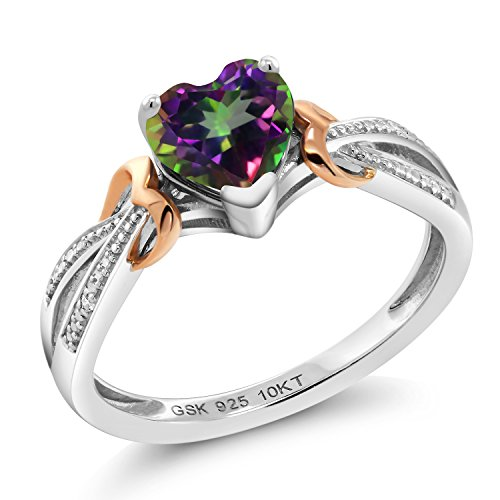 925 Silver & 10K Rose Gold Diamond Ring 0.96 Ct Heart Shape Green Mystic - Topaz Mystic Diamond Ring