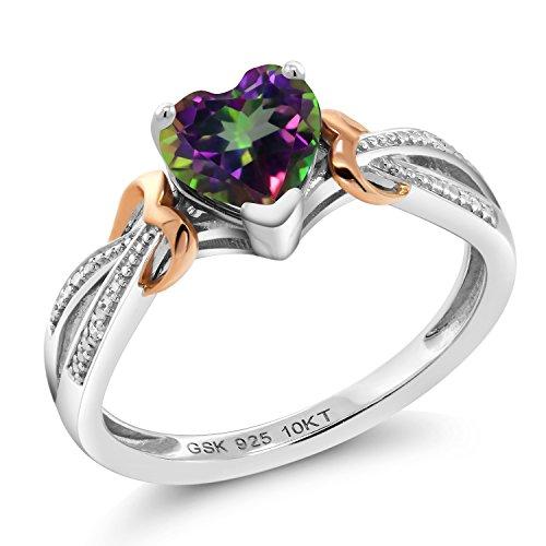 925 Silver & 10K Rose Gold Diamond Ring 0.96 Ct Heart Shape Green Mystic - Ring Mystic Topaz Diamond