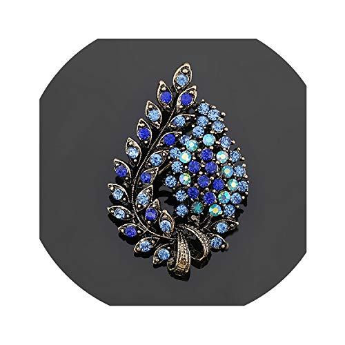 lucky air Assorted Colors Red Coffee Blue and Purple Crystal Rhinestones Flower Leaf Brooch Pins in Antique Vintage,Light Yellow Gold Color