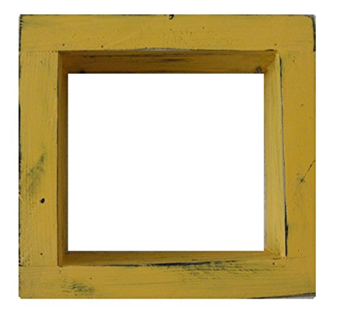 Square Wood / Wooden Shadow Box Display - 12'' x 12'' - Yellow - Decorative Reclaimed Distressed Vintage Appeal by IGC