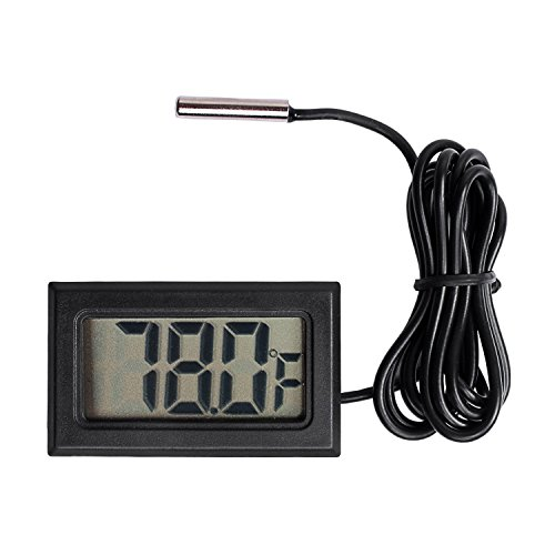 (Qooltek Digital LCD Thermometer Temperature Gauge Aquarium Thermometer with Probe for Vehicle Reptile Terrarium Fish Tank Refrigerator(Fahrenheit))