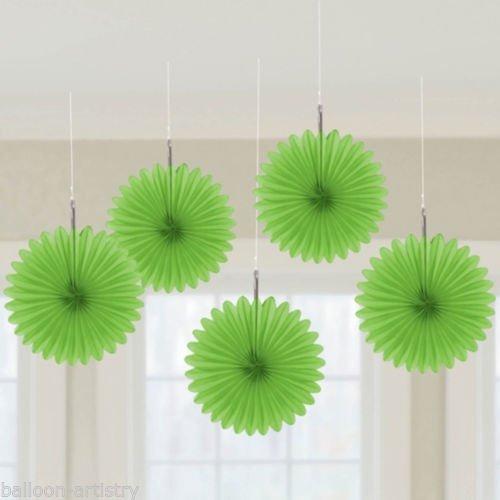 amscan Kiwi Green Mini Hanging Fan, 5 Ct.   Party Decoration