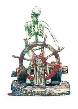 Penn Plax Skeleton - Penn Plax Aerating Action Ornament, Skeleton at the Wheel – Moving Decoration