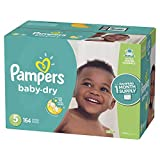 Pampers Baby Dry Disposable Baby Diapers, Size 5,164 Count, ONE MONTH SUPPLY