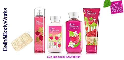 Bath & Body Works SUN-RIPENED RASPBERRY Gift Set - Body Lotion - Body Cream - Fragrance Mist & Shower Gel + FREE Sisal Sponge