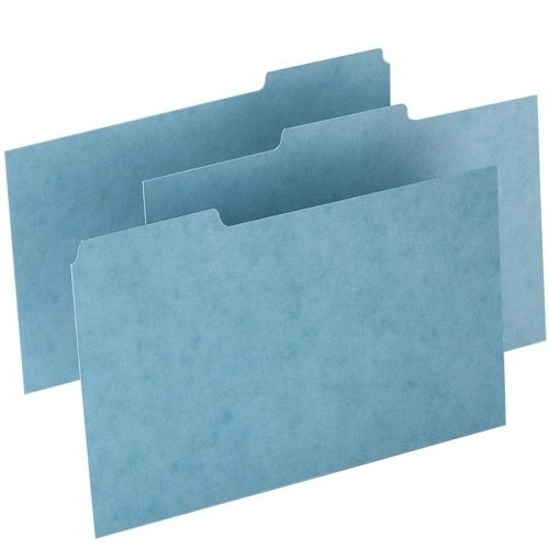 Pressboard Card Guides - Esselte Pendaflex Corporation Products - Pressboard Index Card Guides, Blank, 1/3 Cut, 8amp;quot;x5amp;quot;, 100/BX, Blue - Sold as 1 BX - Filing card index guides feature a blank surface for easy customization and a 1/3 cut tab for organizing notes or other information. Sturdy Pressboard construction delivers enduring performance. Each index guide is precision-cut uniformity and made with 30 percent post-consumer material.