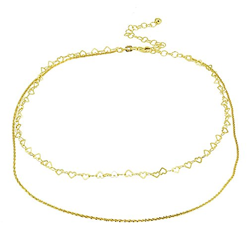 Rope Heart Twist - Yellow Gold Flashed Sterling Silver Mirror Twist Rope & Open Heart Italian Chain Choker Layered Necklace