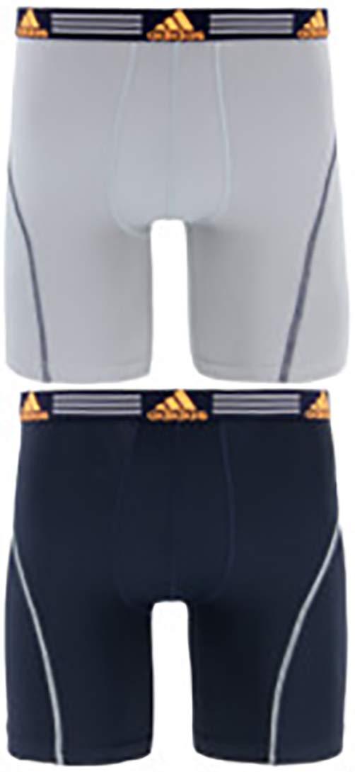 adidas Men's Sport Performance Midway Underwear (2-Pack), Grey/Legend Ink Blue Legend Ink Blue/Solar Orange, SMALL by adidas