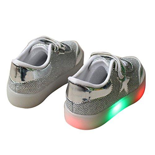 Highdas Niños Muchachos Muchachos LED Zapatos Colorido Luz Up Sneaker Trainers 818-plata