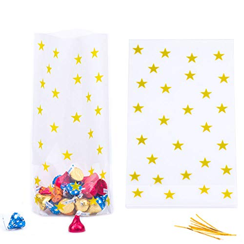 (We Moment Gold Star Clear Cello Bags Candy Plastic Party Favor cellophane Treat Bags,Pack of 50)