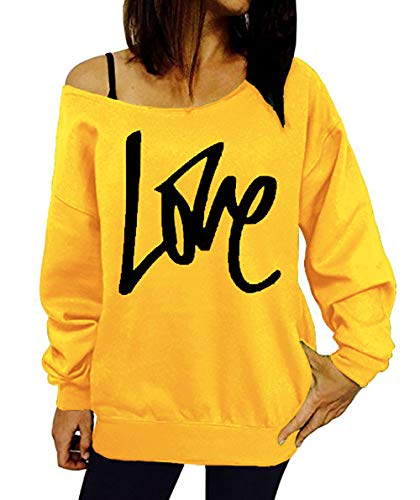 Pulls Longues Jumpers Shirts Shirts Sweat Blouse Automne Manches Oblique paule Impression Hauts et Lettre Fashion Printemps Lache Femmes T Simple Pullover Jaune Casual Tops Fashion YwxPRRB