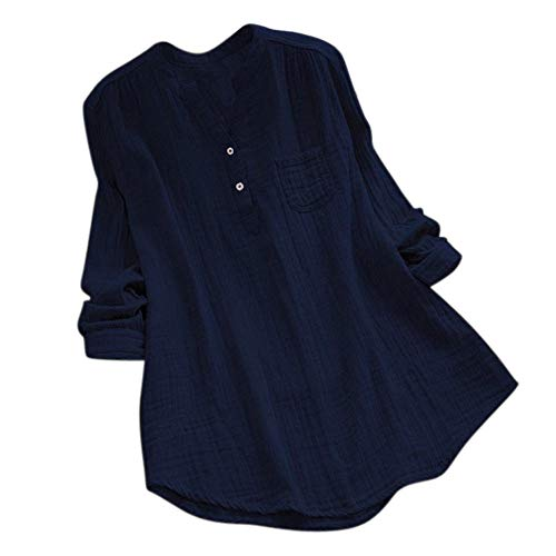 (WUAI-Women Plus Size Long Sleeve Stand Collar Cotton Loose Soft Tunic Tops Blouse(Navy,Large )