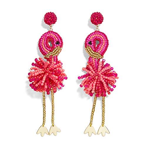 Dvacaman Statement Dangle Earrings for Women - Bohemian Beaded Hoop Earrings, Fashion Drop Earrings Gifts on Mother 's Day, Wedding or Valentine's Day (Flamingo)
