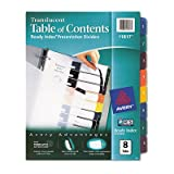 Avery Consumer Products Products - Table of Contents Dividers, 8-Tab, 1-8, Tran/Multi - Sold as 1 ST - Customize your documents with the durable translucent Table of Contents dividers. Dividers have a modern design for professional-looking documents. Use