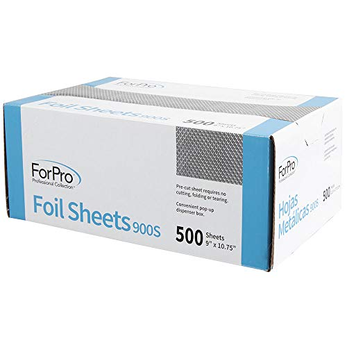 "ForPro Embossed Foil Sheets 900S, Aluminum Foil, Pop-Up Dispenser, for Hair Color Application and Highlighting, Food Safe, 9"" W x 10.75"" L, 500-Count"