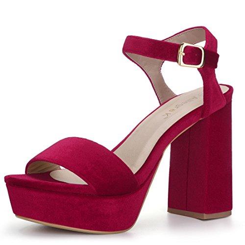 Allegra K Women's Velvet Slingback Ankle Strap Platform Heels Red Sandals - 8.5 M US