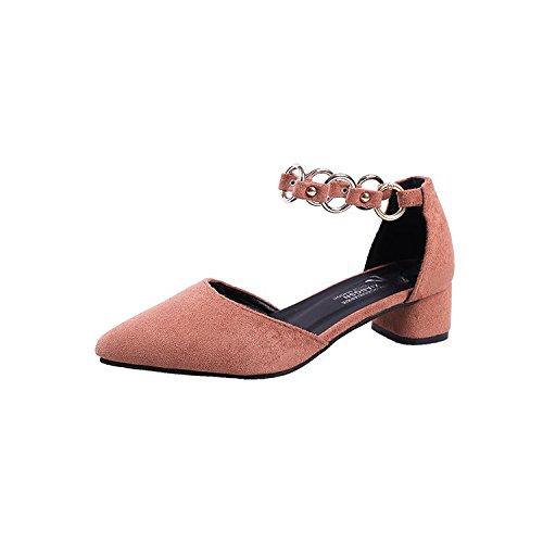 punta scarpe con raso scarpe 35 rosa Scanalati scanalato rivetti con yalanshop di cravatta calzature donna della per spessi marea metallo di donna nTBxqxIw06