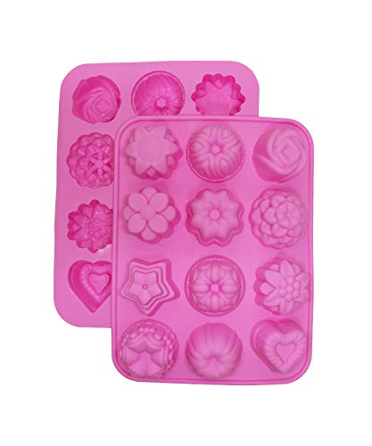 (Cherion 2-Piece Silicone Mini Soap Mold,Pudding Mold,Flower and Heart Shaped Cake Mold (12 Cavity)