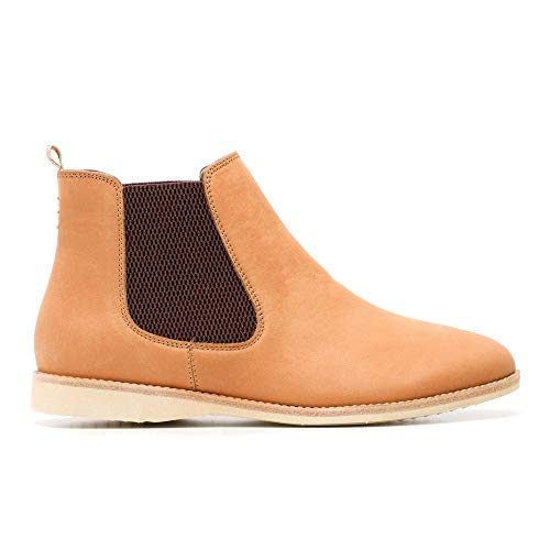 Rollie Women's Chelsea Cognac, Slip On Leather Ankle Booties Brown Flat Boots for Women with Elastic Panels, Size 10 US / 41 EU