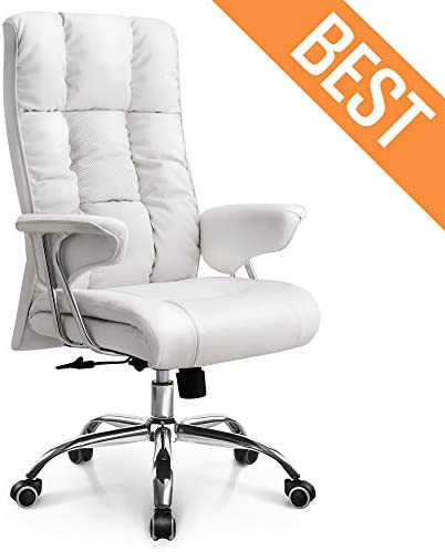Neo Chair Office Chair Computer Desk Chair Gaming – Ergonomic High Back Cushion Lumbar Support with Wheels Comfortable White Upholstered Leather Racing Seat Adjustable Swivel Rolling Home Executive