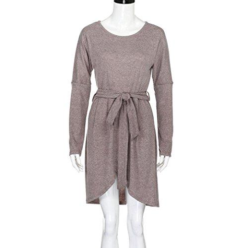 Creazy Mini Womens Ladies Belted Bandage Khaki Loose Casual Dress Dress Sleeve Long UUrqSxB