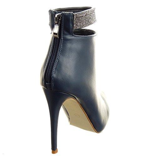 Sopily - Zapatillas de Moda Botines Stiletto Low boots Tobillo mujer strass Talón Tacón de aguja alto 11 CM - plantilla sintética - forradas en piel - Azul