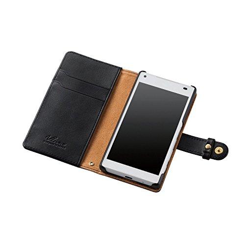 ELECOM Xperia Z5 Compact SO-02H レザーケース 手帳型 横開き スナップ付 ブラック  PD-SO02HPLFSNBK