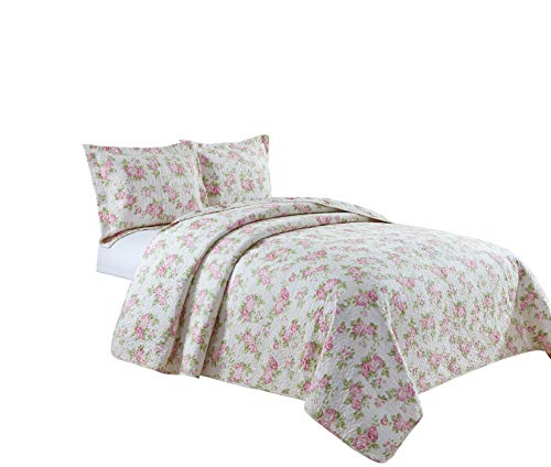Chezmoi Collection Dakota 3PC 2-in-1 Reversible Pink Rose Vintage Washed 100%-Cotton Quilt Set (King)
