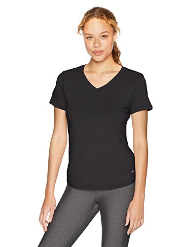 Danskin Women's Plus Size Active V-Neck T-Shirt, Black, Small