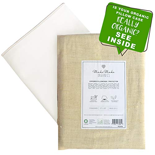 Organic Pillow Protectors (Set of 2) | GOTS Certified Organic Cotton Pillow Cases/Pillow Protectors Zippered | Hypoallergenic Dust Mite Barrier Plush 500TC | Pearl White with Piping | Standard 20x26 ()