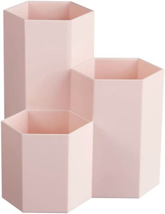 forniture per ufficio 12 x 6,3 cm Rosa Toymytoy scatola portaoggetti per studenti contenitore in plastica Portapenne creativo esagonale da tavolo