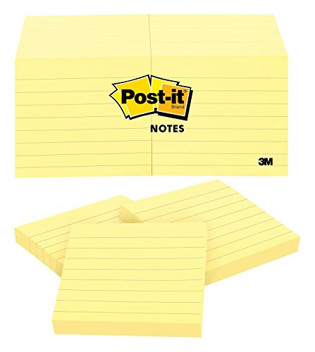 (Post-it Notes, America's #1 Favorite Sticky Note, 3 x 3-Inches, Canary Yellow, Lined, 12-Pads/Pack)