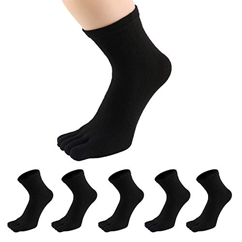 PACKGOUT #1 MENS 5 PAIRS TOE SOCKS Soft & Breathable Five Finger Running Socks (Black, Free ()