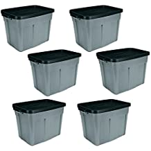 Rubbermaid Roughneck 18 Gallon Storage Tote/Bin Organizer in Gray, Built to Last Durable COnstruction with Snap-on Lid and Built-in Handles, 6-Pack