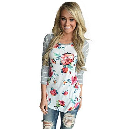 VESNIBA Women Floral Splice Stripe Printing Round Neck Pullover Blouse Tops T Shirt (XL, White) (Tuxedo Adult Womens Costume Kit)