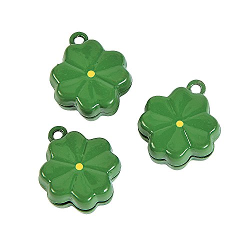 Fun Express - Green Clover Jingle Bell Charms for St. Patrick's Day - Craft Supplies - Adult Beading - Charms - St. Patrick's Day - 6 -