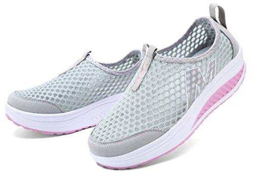 NEWZCERS Zapatillas de Atletismo de Material Sintético Para Mujer gris