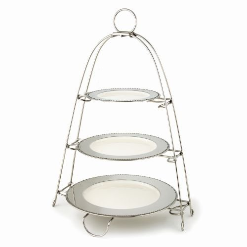 Elegance Stainless Steel Two Tier Tray with Enameled Plates, Silver