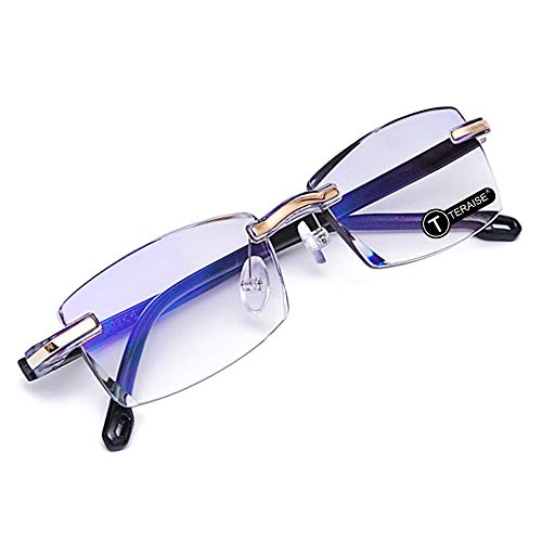 TERAISE Rimless Reading Glasses Fashion Diamond Cut Edge Design Anti-Blue Lens Spectacle Readers for ()
