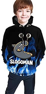 Slogo-Man Youth 3D Printed Hoodie Pullover Sweatshirt with Pocket for Boys Girls Kids