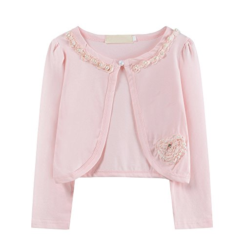 s Beaded Flower Knitted Bolero Sweater Shrug Casual Cardigan Jacket Dance Dress Cover up (7-8 Years, Pink (B)) ()
