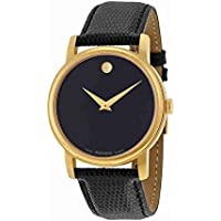 Movado 2100005 Museum Black Leather Mens Watch (Black Dial)