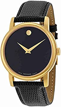 Movado 2100005 Museum Black Leather Mens Watch