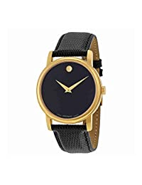 Movado Men's Museum 2100005 Black Leather Swiss Quartz Watch with Black Dial