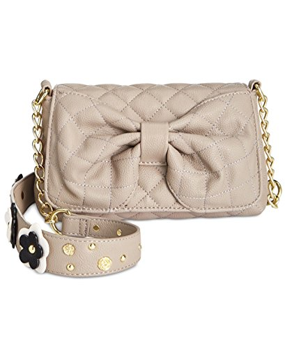 Betsey Johnson Outlet (Betsey Johnson Womens Faux Leather Embellished Shoulder Handbag Gray Small)