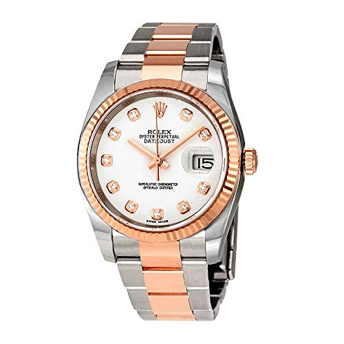 Rolex Oyster Perpetual Datejust 36 White Dial Stainless Steel and 18K Everose Gold Bracelet Automatic Men's Watch