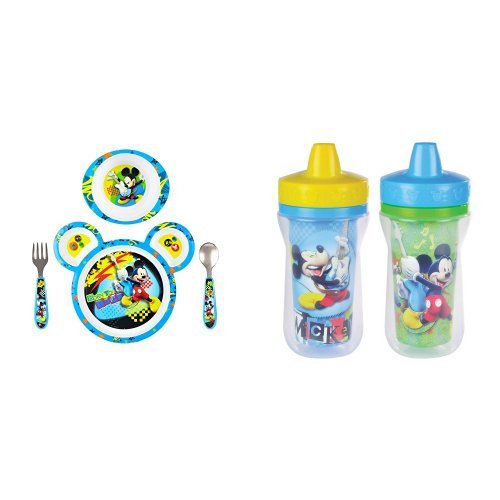 The First Years Disney  Baby Mickey Mouse Feeding Set with Sippy - Mickey Mouse Dinnerware Clubhouse